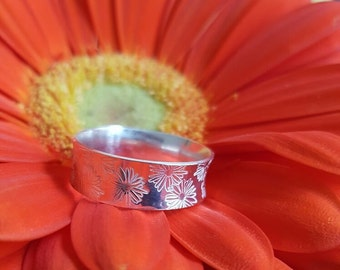 Silver ring with flowers, handmade
