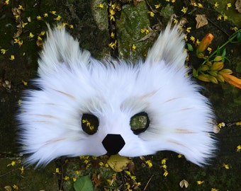 White Wolf Faux Fur Mask, handmade