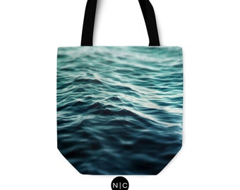 Dark Waters 3 - Tote Bag, Turquoise Blue Green Ocean Surf Carrier Style Bag, Boho Chic Beach Fashion Market Shopping Bag. Basic & Adjustable