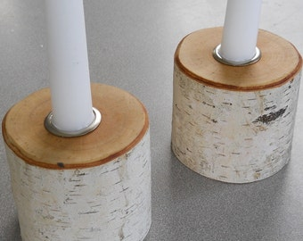 Rustic Birch Candle Holders - Set of 2  with silver inserts
