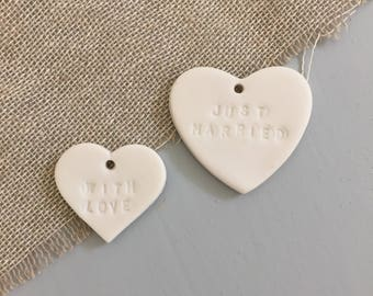 Porcelain Gift Tags // With Love // Just Married // gift wrap // presents // wrapping