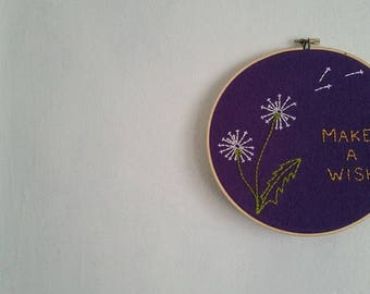 Dandelion Wishes Embroidery Art