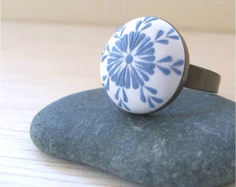 Ornamental Jewelry- Polymer Clay Ring- White and Blue Ring