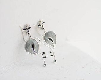 Monochromatic Art Earrings, Black Gray Jewelry, Lily of the Valley Earrings