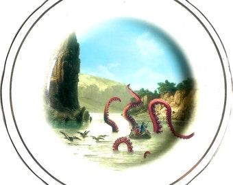 Kraken Attack - Vintage Porcelain Plate - #0600