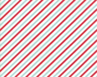 VINTAGE HOLIDAY Bonnie & Camille Vintage Christmas Bias Candy Stripe Red / Aqua 1 Yard Moda Fabric