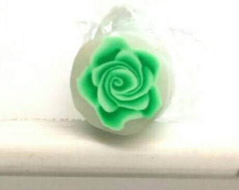 Bright Green Rose Cane, Raw Cane, Polymer Clay Flower Millefiore e506
