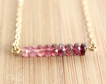 Pink Ombre Necklace - Pink Tourmaline Necklace - 14K Gold Fill