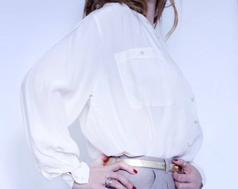 vintage white silk blouse size S-M