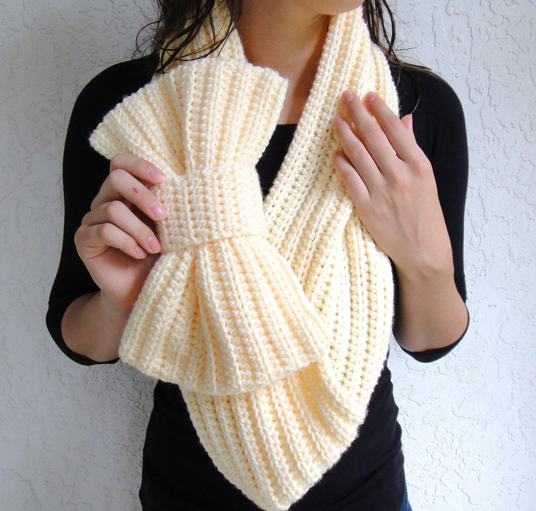 Buttercream Bow Infinity Scarf Chunky Crochet Neck Warmer