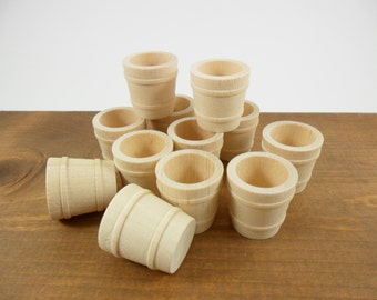 """Wood Pail Bucket Tub 1 3/16"""" Miniature Unfinished Wood - 12 Pieces"""