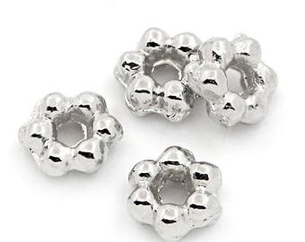 x 50 beads spacer 3 mm silver 6-petal flower