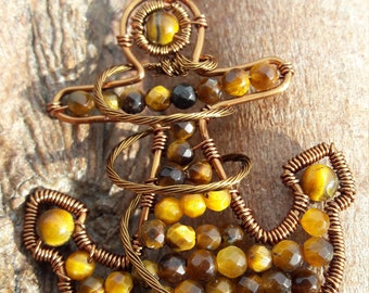 Anchors Away Necklace. Yellow Tigers Eye,Antique Bronze Wire,Chainmaille Weave Chain,Unusual,Unique,Pendant,Nautical,For Her,Gift,Anchor,UK