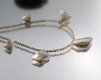 Smokey Quartz Necklace - Freeform Slices - Quartz Necklace - Adjustable