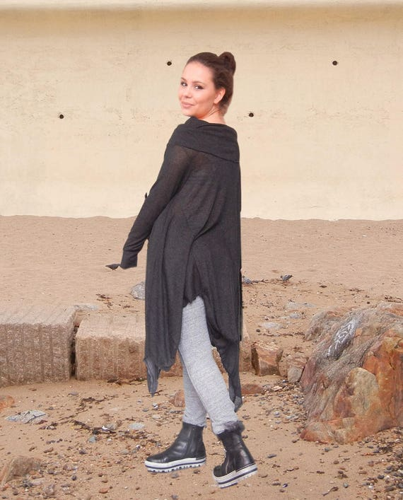 Baggy Oversized Fine Knit Loose Tunic, Maternity Plus Size Black Top, Maxi Extravagant Black Tunic, Asymmetric Smock Top Tunic