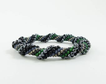 Bead Crochet Rope Bangle, Spiral Design in Hematite, Greys, Green, Charcoal, and Blue - Item 1360
