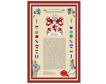 Family crest coat of arms with last name history. Surname is historically accurate and based on standards of heraldry. One of a kind print.