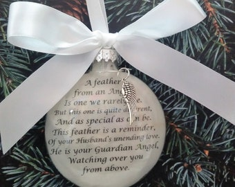 Feather from an Angel Memorial Christmas Ornament Sympathy Gift Bereavement Keepsake Loss of Mother Father in Heaven Death of Loved One Gift