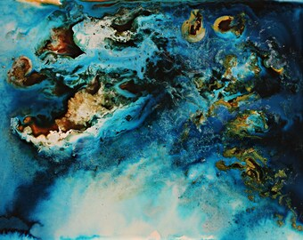 Arctic Sea and Islands - Watercolor Painting - Nature Aerial Inspired Print