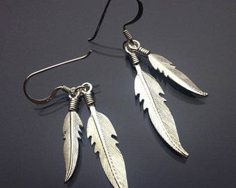 925 Solid Sterling Silver FEATHER Earrings/Dangling/Hook/Oxidized/Double Dangling/ Boho Jewelry/ Nature Jewelry