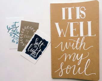 It is well with my soul prayer journal, hand lettered on moleskine notebook, scripture gift, personalized gift, prayer journal gift, for her
