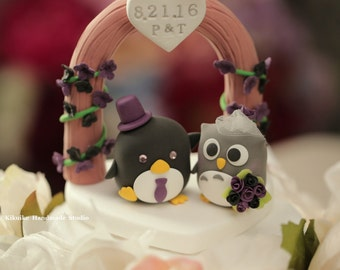 owl and penguin wedding cake topper