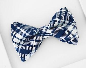 Christmas Bow Tie, Blue Plaid Bow Tie, Blue White Bow Tie, Holiday Plaid Bow Tie, Prom Bow Tie, Navy Blue Plaid Bow Tie, Boys Bow Tie