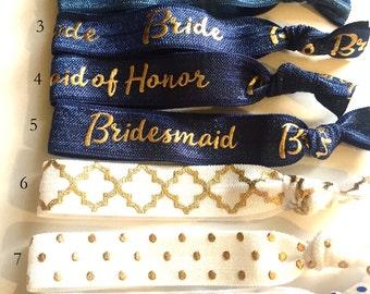 Choose Your Own-Navy Blue & White Bridal/Bridal Party Hair Tie Set-Pick 6 hair ties, Team Bride, Bridesmaid Hair Ties, Wedding, Bridal