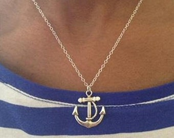 Large Silver Anchor Necklace Sterling Silver Chain UK   Birthday Gift  Mothers Day Gift
