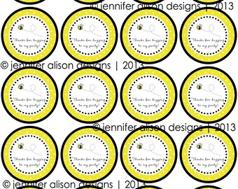 """INSTANT DOWNLOAD / Bumble Bee Party  2"""" printable Party Circles /  Cupcake Topper / Stickers / Thank You Tags"""