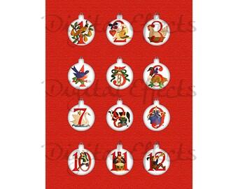 DIGITAL CHRISTMAS TAGS, 12 Days of Christmas, Printable Christmas Ornaments, Christmas Digital Collage Sheet,Instant Download Printable Tags