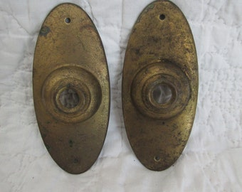 2 Vintage Door Knob Plate Brass Oval Not Perfect