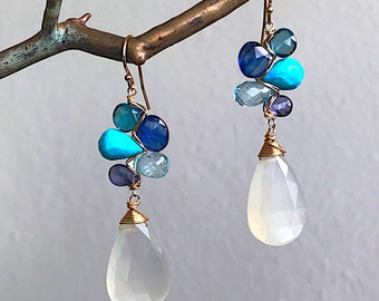 Moonlight Ocean Woven Earrings with Kyanite, BlueTopaz, Turquoise and White Moonstone
