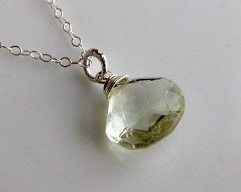Green Prasiolite Necklace, Prasiolite Briolette Wire Wrapped on Sterling Silver