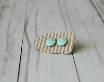 medium fabric button earrings | handmade earrings | vintage style polka dot fabric | vintage style earrings | polka dot earrings