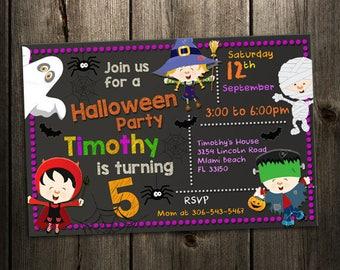Kids Halloween Invitations, Kids Birthday Party Invitations, Halloween Birthday Invitations, Kids Party, Halloween Party Invites, Chalkboard