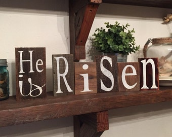 Easter decoration, He Is Risen, hand painted wood, rustic gift, Easter blocks, easter sign