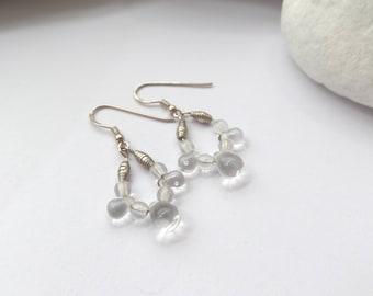 925 Silver Earrings, Clear Smooth Crystal Silver Earrings, Sterling Silver earrings, neutral, useful modern, elegant earrings.