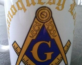 Masonic square and compass lodge mug