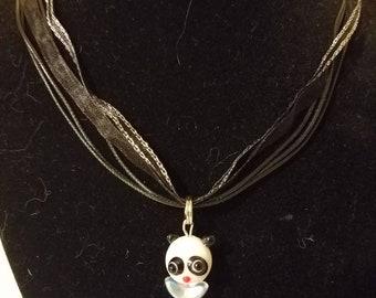 Panda bear on black corded necklace
