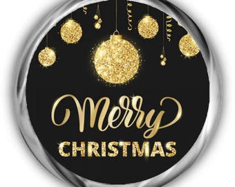 Gold Christmas Kisses Stickers | Personalized Christmas Stickers | Envelope Seals