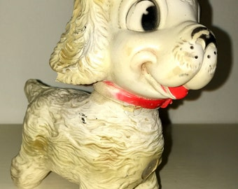 vintage 1958 The Edward Mobley CO.  Rubber baby squeaky toy puppy