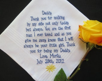 Choose 40 words. Wedding Handkerchief Gift. Father's  Personalized Embroidered Wedding Gift. Free Gift Box with each hanky that you order.