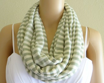 Stripe Circle Scarf. Stripe Infinity Scarf. Soft Cotton Spandex Loop Scarf. Sage Green And Off White Stripe Scarf.