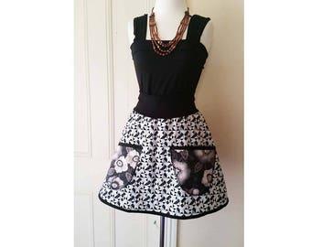 Women's Skirt Short Skirt Black White Medium Mod Cotton Mini Skirt Pocket Skirt Flowers Pegged Skirt Ooak Skirt Australian Made High Waisted