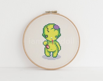 Zombie - a cute pixel art counted cross stitch pattern