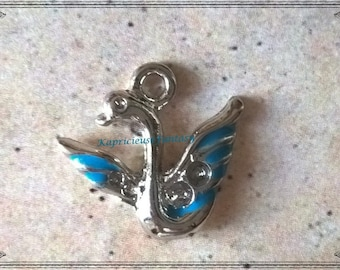 4 charms, bird, Swan, Swan, blue, silver, 20 x 19 mm