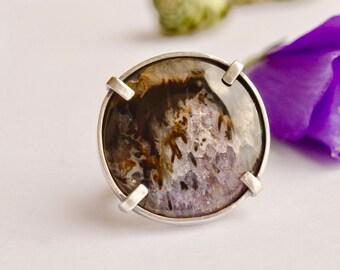 Amethyst Ring, Sagenite Ring, Metalsmithed Silver Ring, Gemstone Silver Ring, 925 Silver Ring, Handmade, Unique, Prong Set, Size 9.5