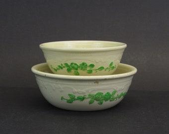 Vintage Green Floral Oven Serve Shallow Nesting Bowls, Set of 2 (E10592)