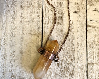 Large Crystal Pendant Long Layering Bohemian Jewelry / Citrine Necklace Crystal Necklace  / Healing Crystal Jewelry Copper Electroformed